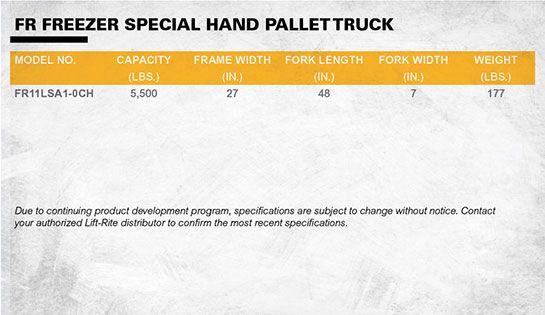 lift-rite freezer galvanized pallet truck dimensions