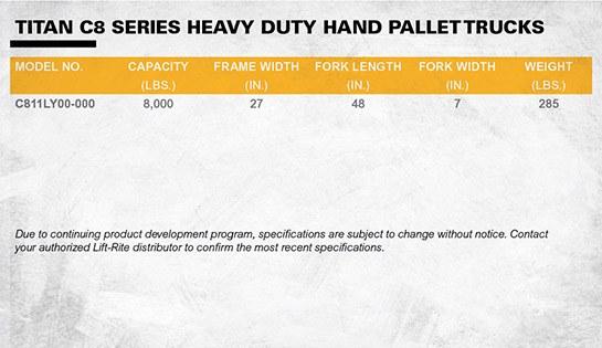 Lift Rite heavy duty pallet jack dimensions