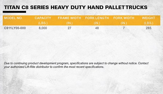 Lift Rite heavy duty pallet jack dimensions
