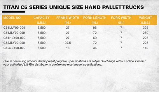 Lift-Rite Titan Series unique size manual pallet jacks