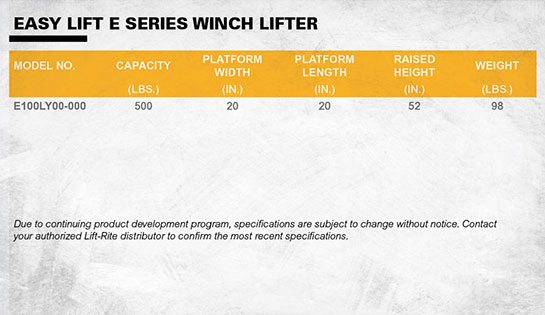 Lift-Rite Easy Lift Winch Lift Specifications