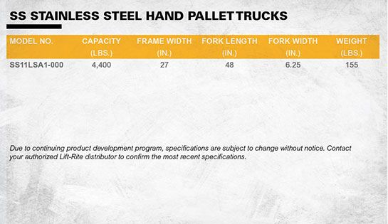 lift-rite stainless steel hand pallet truck dimensions