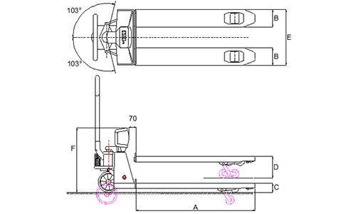 Lift-Rite pallet jack scale dimensions