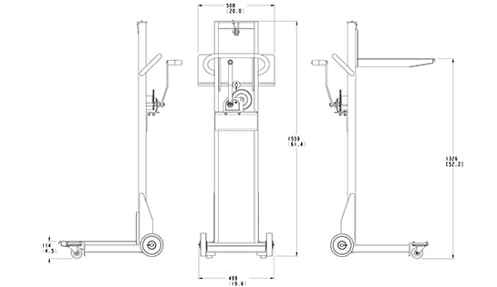Lift-Rite Easy Lift Winch Lifter dimensions