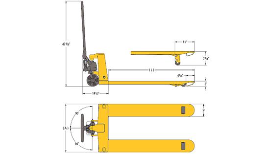 Lift-Rite Titan pallet jack dimensions