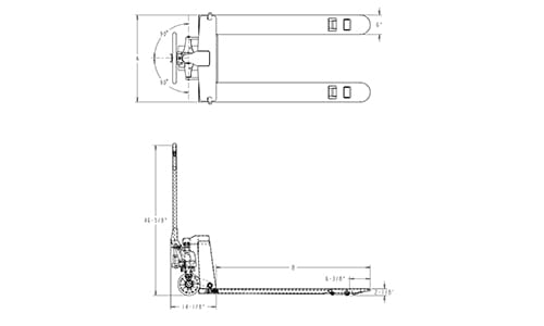pallet jack dimensions, 4-way entry pallet jack