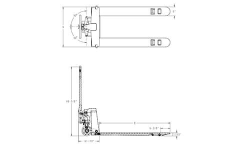 pallet jack dimensions, 4-way entry pallet jack