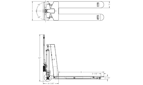 skid lifter, electric skid lift, skid lift dimensions