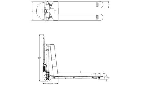 skid lifter, electric skid lift, skid lift dimensions