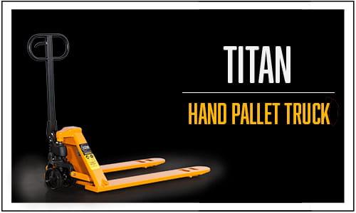 Image of Titan Hand Pallet Truck on black background.