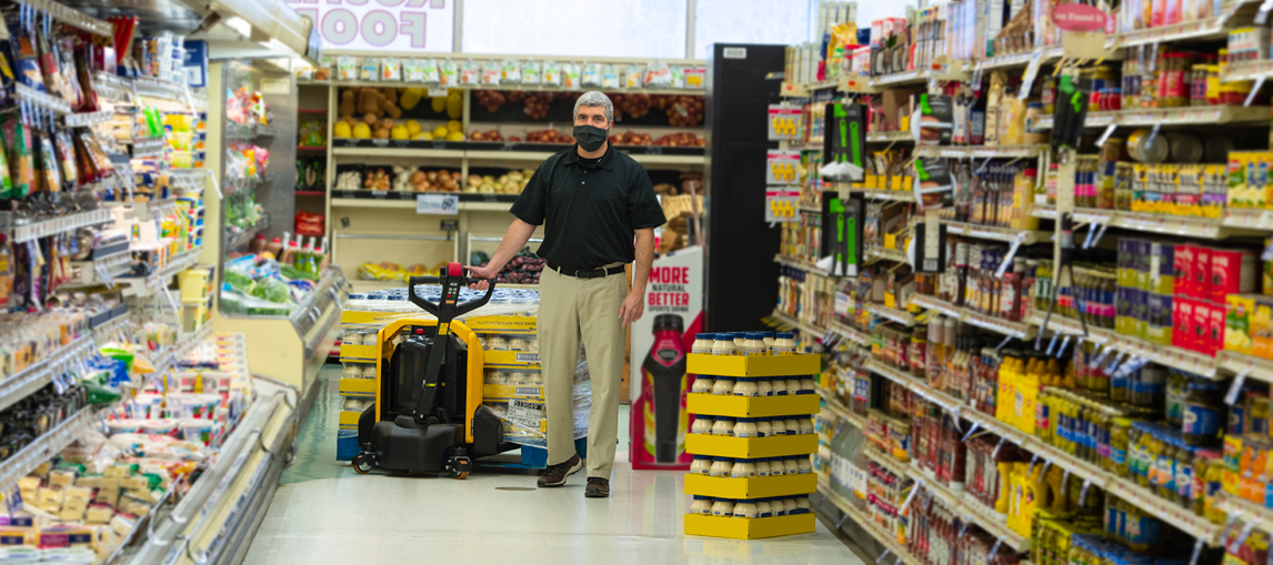 The Lift-Rite Edge is being used to its full capacity in a grocery store.